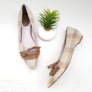 Johnston Murphy Tan Checkered Velvet Ballet Flats